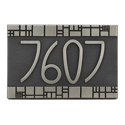"The Batchelder Tile Address Plaque 12"" x 8"" in Silver Nickel - Now you can bring the look of Ernest Batchelder to your Arts and Crafts building with The Batchelder Tile Address Plaque. Although, of course, not designed by Ernest Batchelder, his Arts and Crafts tiles are the inspiration for the design of this address numbers plaque. Tiles designed by Batchelder feature an array of seemingly random shapes ranging from animals to geometric squares to abstract images. This sign, dedicated in name to Ernest Batchelder, shares many similarities with the Willow American Craftsman sign. Both are excellent choices for bungalows, craftsman, arts and crafts, and brick and mortar homes."