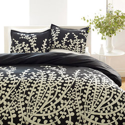 City Scene - City Scene Branches Black 3-piece Duvet Cover Set - This lovely branch duvet set is perfect for accessorizing the top of the bed. The set includes the soft duvet cover with two pillow shams (one in twin set) and is available in a vibrant black and white design.