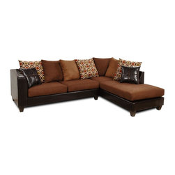 Chelsea Home - Ashley 2-Pc Sectional Set - Includes right arm chaise and left arm sofa. Upholstered in denver mocha, victory chocolate and san francisco kiwi. No sag steel springs. 1.5 density dacron wrapped cushions. Made from hardwood and engineered wood. Made in USA. No assembly required. Right arm chaise: 36 in. L x 79 in. W x 38 in. H (150 lbs.). Left arm sofa: 74 in. L x 36 in. W x 38 in. H (150 lbs.)