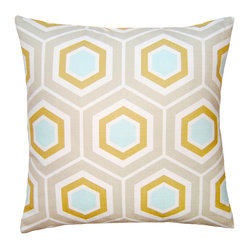 Square Feathers - Turquoise Hex Pillow - Who doesn't love hexagons? The six-sided figures are having a moment right now, and they look especially approachable when done in softer tones, as in this beachy-colored pillow. This could be a great starting-off point for a calm nursery palette.