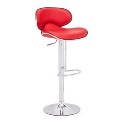 ZUO MODERN - Fly Barstool Red - With high back and plush seat, the Fly has the most comfort for a barstool. It has a leatherette seat, a hydraulic piston, and an chrome plated foot rest and steel base.