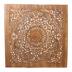 Kammika - Lotus Wall Panel Inlay 36x36 inch w Eco Friendly Brown Stain and Natural Wax Fin - Using reclaimed recycled rough-hewn teak planks from old dwellings and community buildings, craftspeople in Thailand devote hours to hand carve this intricate lotus flower motif on our Lotus Panel Inlay 36 x 36 inch with eco friendly water-based brown stain and natural wax finish. A stain darkens the panels, light sanding creates brown highlights, and a natural wax is applied to seal the wood. The lotus symbolizes purity, prosperity, and fertility. Each panel is cut into 12 inch sections that fit together for ease of shipping and mounting. These carvings help pay for new community buildings for each village. Made from reclaimed teak panels that were cut over 50 years ago, the wood is not machined down flat or squared up. The carvers rough cut slats that are about the same size and then lay them side by side; they are not perfect squares. The pattern is transferred by hand; they drill holes, and thread finger saws through the openings of the pattern. The saw marks and misplaced holes are visible at times. The artisans carve by hand to create the 3D effect. Each is sanded, stained, a natural wax finish applied, and 2 embedded flush mount Keyhole hangers for a protruding screw from your wall are attached to the back of each panel .It is an imperfect art; each panel is unique. The pattern will not line up perfectly, nor will it be perfectly square on the outside edge. Products are dried in solar or propane kilns; no chemicals are used in the process, ever. Each piece is packaged with cartons from recycled cardboard with no plastic or other fillers. The color and grain of your piece of Nature will be unique, and may include small checks or cracks that occur when the wood is dried. Sizes are approximate. Products could have visible marks from tools used, patches from small repairs, knot holes, natural inclusions or holes. There may be various separations or cracks on your piece when it arrives. There may be some slight variation in size, color, texture, and finish color.Only listed product included.