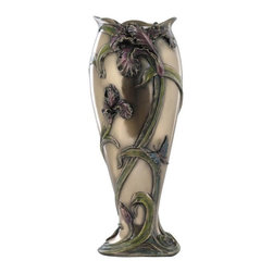 US - 13 Inch Victorian Iris Vase with Blue Butterflies and Green Leaves - This gorgeous 13 Inch Victorian Iris Vase with Blue Butterflies and Green Leaves  has the finest details and highest quality you will find anywhere! 13 Inch Victorian Iris Vase with Blue Butterflies and Green Leaves  is truly remarkable.