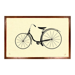 Kathy Kuo Home - Vintage Bicycle Silhouette Little Art Print - Feel the wind in your hair, the open road beneath you, childhood laughter behind you as you gaze upon this vintage-inspired bicycle print. As timeless as your hopes and dreams, it will serve as inspiration to get out and hit the open road. Custom made to order, it's meant to hang anywhere you need some childlike wonder.