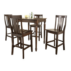 Crosley Furniture - 5 Pc Pub Dining Set w Turned Leg and Shield B - Includes Pub Table and 4 Stools in Vintage Mahogany. Solid Hardwood & Veneer Construction Table . Solid Hardwood Stools. Hand Rubbed, Multi-Step Finish. Solid Hardwood, Fully Turned, Legs. Shaped Back for Comfort. Table Dimensions: 36 in. H x 32 in. W x 32 in. D. Stool Dimensions: 40 in. H x 18.5 in. W x 22.5 in. DConstucted of solid hardwood and wood veneers, the 5 piece Pub / High Dining set is built to last. Whether you are looking for dining for four, or just a great addition to the basement or bar area, this set is sure to add a touch of style to any area of your home.