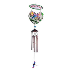 "GWC - 33 Inch Dragonfly Design Heart Shaped ""Welcome"" Metal Wind Chime - This gorgeous 33 Inch Dragonfly Design Heart Shaped ""Welcome"" Metal Wind Chime has the finest details and highest quality you will find anywhere! 33 Inch Dragonfly Design Heart Shaped ""Welcome"" Metal Wind Chime is truly remarkable."