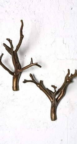 Branch Hooks, Bronze - I'm a big fan of wall hooks. I like to test them out with Command hooks before committing to a hole in the wall, but I think I could make an exception for these Branch Hooks. They'd be perfect in a small or narrow entryway for stashing guests' coats or your dog's leashes. They'd also work on the back of the bathroom door for towels.