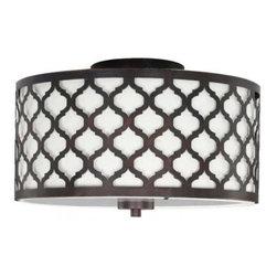 Edgemoor 2-Light Flush Laser Drum - Oooh, this ceiling fixture is under $100! It looks like an expensive designer light.