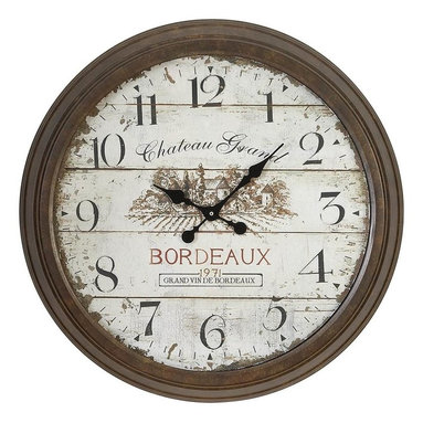 Aspire - 28 in. Bordeaux Style Wall Clock - This large wall clock is sure to add a rustic touch to your decor. The Bordeaux clock will add a romantic french feeling. Metal. Color/Finish: Distressed brown, cream. Operates using one AA battery (not included). 28 in. H x 28 in. W x 2.5 in. D. Weight: 16 lbs.