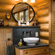 Rustic Powder Room by Rocky Mountain Log Homes