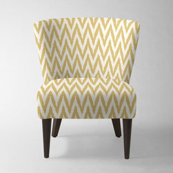 Veronica Taper Leg Chair - Oh, now this is a fun look! Gold and white paired with dark legs is simple yet very elegant at the same time. And how about that pattern?
