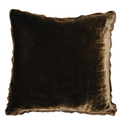 Squarefeathers - Exotic, Velvet Brown Pillow - The Exotic Collection is perfect for a large room with multiple furniture pieces. The brown tone color scheme is neutral for open areas. Made of silk and rayon velvet with a brown ribbon trim. It has a soft and pump feataher/down insert inclosed with a zipper. Like all of our products, this pillow is handmade, made to order exclusively in our studio right here in the USA.