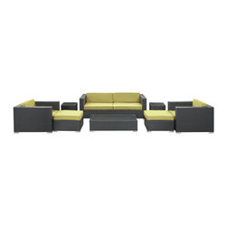 LexMod - Venice Outdoor Wicker Patio 8-Piece Sofa Set in Espresso with Peridot Cushions - Let serenity penetrate your being and distractions fade away with this modern outdoor set. Sit leisurely as an unwavering inner joy rises to the surface and a firm message of relaxation and harmony take hold. Dynamic lines help infuse your special gatherings with perfect measures of energy and calm as your respite turns waves of activity into serenity.