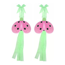 """Bugs-n-Blooms - Ladybug Tie Backs Green Pink Shimmer Nylon Ladybugs Tieback Pair Set Decor - Window Curtains Holder Holders Tie Backs to Decorate for a Baby Nursery Bedroom, Girls Room Wall Decor - 4""""W x 3""""H x 2"""" Dia. Shimmer Curtain Tieback Set Ladybug 2pc Pair - Beautiful window curtains tie backs for kids room decor, baby decoration, childrens decorations. Ideal for Baby Nursery Kids Bedroom Girls Room.  This cute ladybug has a color matched glitter and blacks sequins on the wings and has a color matched body.  This pretty ladybug decoration is made with a soft bendable wire frame & have color match trails of organza ribbons. Has 2 thick color matched organza ribbons to wrap around the curtains.  Visit our store for more great items. Additional styles are available in various colors, please see store for details. Please visit our store on 'How To Hang' for tips and suggestions. Please note: Sizes are approximate and are handmade and variances may occur. Price is for one pair (2 piece)"""
