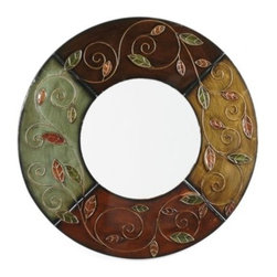 Fall Foliage Mirror - The Fall Foliage is embossed with a beautiful leaf and vine design that would be beautiful any time of the year, not just fall.  Crafted of metal this mirror is designed with lacquered finishes of green, brown, gold and rust.