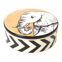"Jonathan Adler - Jonathan Adler Animalia Elephant Trinket Box - Final Sale - Jonathan Adler's Animalia trinket box offers tabletops sleek graphic style. A lustrous gold finish and striking black and white elephant sketch lend the accessory visual intrigue. 5"" Dia x 2""H; High-fired white porcelain; Hand-applied gold finish; Removable lid"