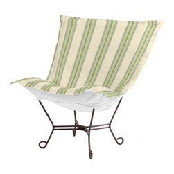 Howard Elliott - Baja Scroll Puff Chair - Mahogany Frame - Taking it to the Backyard! Now you can take your favorite chair outside with you. The Baja Patio Puff Chair has been designed to withstand the elements with Its special fabric cover and foam insert. The fun, bright color selection of the Baja Patio Puff Chair will fill your yard with the colors of summer.