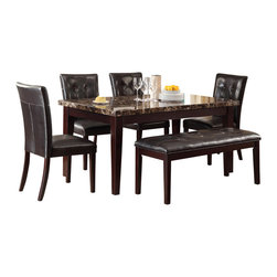Homelegance - Homelegance Teague 6-Piece Faux Marble Dining Room Set in Espresso - A natural selection for your transitional home, the Teague collection will compliment your lifestyle. Faux marble is set in a diamond pattern in this casual dining offering. With dark brown bi-cast vinyl seating and a espresso finish to compliment it all, this dining collection will be a welcome addition to your home.