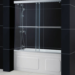 """Dreamline - Charisma 56 to 60"""" Frameless xpass Sliding Tub Door & QWALL-Tub Backwalls Kit - This DreamLine kit offers the perfect solution for a bathroom remodel with a CHARISMA frameless bypass tub door and a coordinating backwall panels. The CHARISMA tub door has a no wall profile design for the unique combination of a bypass sliding shower door and the beauty of frameless glass. Back wall panels made from durable and attractive Acrylic/ABS materials in a tile pattern finish the bathroom transformation."""