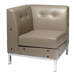 "Avenue Six - Wall Street Corner Chair in Smoke Faux Leather - Avenue Six Wall Street Corner Chair in Smoke Faux Leather; Smoke Faux Leather; Covered in High Performance, Easy Care Faux Leather; Box Spring Seat for Durability and Comfort; Available in Espresso Faux Leather (-E34), Black Faux Leather (-B18), Smoke Faux Leather (-U22) and White Faux Leather (-W32); Greenguard: Yes; Weight Capacity: 200; Outer Materials: Faux Leather / Chrome; Assembly required: Yes; Dimensions: 28""W x 28""D x 30""H"