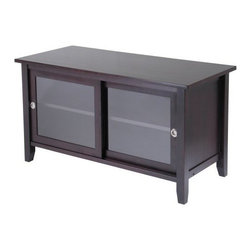 Winsome Wood - TV Media Stand - Our TV Media Stand is elegant and sleek, this TV stand gives a new look to your home. It is finished in an espresso stain and features 2 glass sliding doors opening to a great space to store your TV needs. It is made with combination of solid and composite wood.