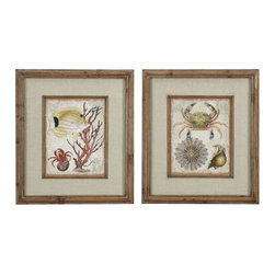 Uttermost Tropical Waters Framed Art Set/2 - The frames feature a unique, reclaimed wood look with medium brown undertones, dark brown wash and a light taupe glaze. The frames feature a unique, reclaimed wood look with medium brown undertones, dark brown wash and a light taupe glaze. Prints are accented by textured, beige linen mats and are under glass.