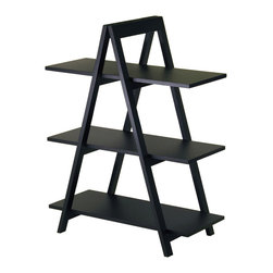 Winsome - A-Frame 3-Tier Shelf - A unique shleving A-Frame shelf features an exciting, modern design, these shelves are ideal for storing and displaying books and more. The shlef will provide your home with a great practical accent piece. Sold wood frame, MDF Shelves, Black Finish Assembly Required.
