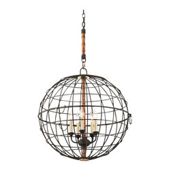 """Troy - Iron Latitude Collection 24"""" Wide Liberty Rust Pendant - Round and inviting this circular pendant light features a hand-worked iron grid-styled frame finished adorned with a deep liberty rust finish. Brass and bamboo accents add a bit of charming eclectic flair. From the Latitude Collection by Troy Lighting. Globe pendant light. Liberty rust finish. Hand-worked iron construction. Brass and bamboo accents. Five maximum 60 watt or equivalent candelabra base bulbs (not included). Include 4"""" of chain 8"""" of cord. 25"""" high. 24"""" wide.   Globe pendant light.  Liberty rust finish.  Hand-worked iron construction.  Brass and bamboo accents.  Five maximum 60 watt or equivalent candelabra base bulbs (not included).  Include 4"""" of chain 8"""" of cord.  25"""" high.  24"""" wide."""