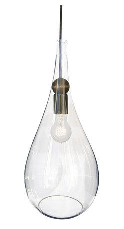 Hammers & Heels - Glass Teardrop Pendulum Lamp Shade- Black - RUSTIC MEETS MODERN WOOD PENDANT