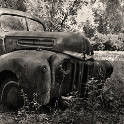 The Andy Moine Company LLC - Rusty 1947 Ford F100 Pickup Truck Florida Fine Art Black and White Photography, - Black and White Fine Art Photography captured with 35MM Ilford Film and reproduced in Limited Editions on Canvas OR Brushed Aluminum. This is a beautiful composition of a Vintage 1947 Ford F100 Pickup Truck that has seen better days.