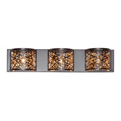 ET2 Contemporary Lighting - ET2 Contemporary Lighting E21316-10BZ Inca 3 Light Bathroom Vanity Lights in Bro - Legendary Incan tears of the sun encrust the clearest crystal cylinder producing a radiant glimmer of ancient riches. A gold glow of Xenon sparkles through a laser-cut metal sheath with precision, perfectly illuminating the treasures that adorn its outer transparent layer.