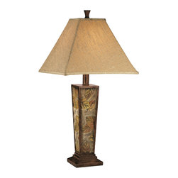 "Signature Design by Ashley - 30"" Eloise Set of 2 Table Lamps L329584 - A set of two: Scatter of fall leaves motif base table lamps with highly textured square shades."