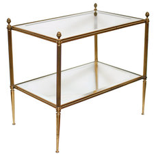 traditional side tables and accent tables French Vintage Brass and Glass Side Table
