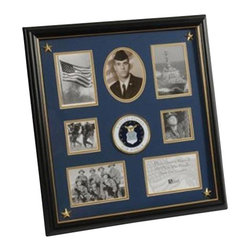 Flags Connections - U.S. Air Force Medallion 7 Picture Collage Frame with Stars - U.S. Air Force Medallion Collage Frame with Stars is designed to hold 7 pictures. These pictures are set into a double layer of Blue matting with Gold trim. Each corner contains a golden star for added detail. The frame is made from Black with Gold Trim colored wood, and the outside dimensions measure 18-Inches by 19-Inches. The U.S. Air Force Medallion 7 Picture Collage Frame with Stars is perfect for proudly displaying the pictures of an individual who is serving, or has served in the U.S. Air Force.