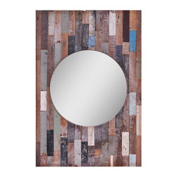 Ren-Wil - Ren-Wil MT1156 Portrait Turin Mirror in Multi-Colored - This unique mirror features a beveled center mirror and a frame which is made up of an assortment of reclaimed wood all finished in complementary natural tones with small highlights of color. Due to the nature of this product each mirror may differ slight