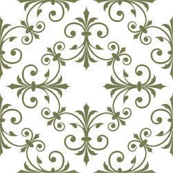 Odhams Press - Hobson Olive RETile Decal, Clear Background - RETile decals can be used to accent or transform your existing ceramic, stone or glass tiles. They are easy to apply and can be removed in the future without leaving a sticky residue.