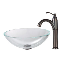 Kraus - Kraus Crystal Clear Glass Vessel Sink and Riviera Faucet Oil Rubbed Bronze - *Add a touch of elegance to your bathroom with a glass sink combo from Kraus