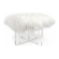 Mongolian Lamb Bench - I absolutely adore this mod bench. White fluffy fur looks amazing paired with sleek clear Lucite. Pair up two for a fun and flirty seating option.