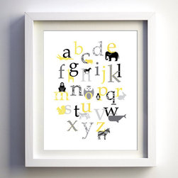 Baby Nursery Wall Decor, Retro Animal Alphabet by Fancy Prints - Add a little bit of classic gray (and yellow) to the nursery with this retro animal alphabet print.