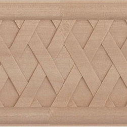"Inviting Home - Joliet Basket Weave Frieze - red oak wood - Oak wood frieze molding 4""H x 3/4""P x 8'00""L sold in 8 foot length (3 piece minimum required) Hand Carved Wood Molding specification: Outstanding quality molding profile milled from high grade kiln dried American hardwood available in bass hard maple red oak and cherry. High relief ornamental design is hand carved into the molding. Wood molding is sold unfinished and can be easily stained painted or glazed. The installation of the wood molding should be treated the same manner as you would treat any wood molding: all molding should be kept in a clean and dry environment away from excessive moisture. acclimate wooden moldings for 5-7 days. when installing wood moldings it is recommended to nail molding securely to studs; pre-drill when necessary and glue all mitered corners for maximum support."