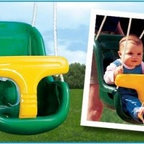 Molded Infant Swing - Make swinging safe and enjoyable for little ones with Creative Playthings' Molded Infant Swing. Molded plastic creates a more comfortable seat than traditional bucket swings while the T-bar restraint adds security. An additional cloth belt keeps your child from wriggling out of the seat or standing up. The shortened rope attachments allow you to push your child easily without hunching over. A playground essential brought to your backyard this swing attaches to most Creative Playthings' swing sets. Thanks to Ny-Glide hardware on the swing beam additional hardware isn't necessary.Weight capacityPer swing: 150 lbs.About Creative PlaythingsSince 1951 Creative Playthings has been building wooden swing sets and swing set accessories at their plant in Emporia Virginia. Creative Playthings cares deeply about the lives of American children as well as the livelihood of their American workers and all of their play systems are proudly Made in the USA. Creating beautiful functional children's play sets are not the sole goal at Creative Playthings' headquarters. The mission of Creative Playthings is to introduce exercise build self-confidence and develop the imaginations of young children so that they can grow to be well-rounded teens and adults. And for them that mission starts in the backyard.