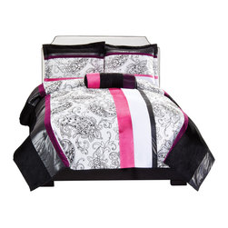Pem America - Zoe Comforter Twin Comforter with Sham - Zoe brings a stylish and trendy look to any teen bedroom or dorm with black and white floral scroll patterns and accents of hot pink and silver. The black borders create eye catching contrast; a perfect look for any girl. Includes 1 Twin Comforter (66 x 86 inches) and 1 standard size sham (20 x 26 inches). 100% hypoallergenic polyester face and fill. Machine washable.