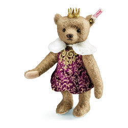 Antonia Teddy Bear EAN 034688 - Looking at Antonia, one almost feels the need to bow respectfully. Immediately it is quite obvious that she is royalty - no doubt a Russian tsarina. Befitting such a regal personality, Steiff has costumed Antonia in furnishings that are appropriate for a Teddy bear of her status. Antonia is sewn from cafe au lait mohair and wears a wine red balloon dress with a noble gold pattern interwoven throughout. The dress is trimmed with a white plush collar. At her neck, she wears a stately ornament made of golden thread that has been intricately embroidered. Naturally, her ensemble is completed with a real metal crown perched majestically atop her head. Add an imperial touch to your collection with our Antonia Teddy bear.
