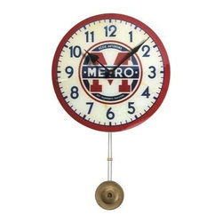 Floating Circus - Paris Metro Pendulum Clock - Reproduced from and early 1900's Paris Metro Clock the vivid colors will certainly add a pop of color to your home decor.