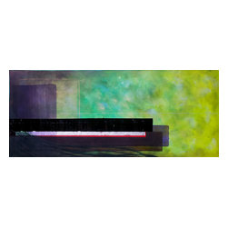 Casarietti Studio - Devotion  72 x 30 original abstract painting by Casarietti - Hang a bold piece of modern art in your home for a daily dose of inspiration. This collaborative piece by Robert and Michelle Casarietti displays a rich and lively palette of green, citron and purple. Display it on the vertical or horizontal for just the right look in your room.