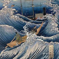 Magic Murals - Japanese Samurai at Sea Wallpaper Wall Mural - Self-Adhesive - Multiple Sizes - - Japanese Samurai at Sea Wall Mural