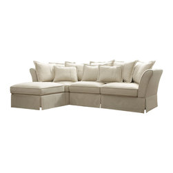 Coaster - Karlee Sectional, Oatmeal - Come home to something comfortable and cozy. Wrapped in a plush oatmeal linen with a sinuous base and many extra back pillows, our Karlee sectional will add a soft and inviting touch to your living room. Features removable seat cushions for easy cleaning. Pair this cozy collection with a casual-styled occasional group (#701957-701959).