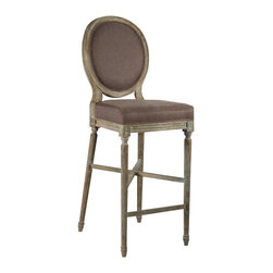 Zentique - Medallion Bar Stool - Aubergine/Limed Grey - Finally, an elegant bar stool with a comfortable back. Choose from three different linen and oak combinations to create your ideal look. A pair of these expertly carved bar stools would be perfect for a home entertainer's kitchen.