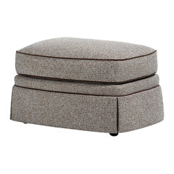 Jessica Charles - Fairfield Ottoman - Adell Linen Fabric - Handmade in North Carolina using local, sustainable hardwood.  Artisan upholstery and custom fit cushions.  Eight-way hand tied coils.