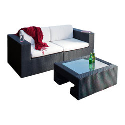Great Deal Furniture - SunValley 3-Piece Love Seat and Table Set - Lounge in style with this stunning outdoor furniture set, which includes two corner seats that you can combine to create a loveseat, and a sleek glass topped table. The loveseat boasts durable, water resistant Sunbrella fabric cushions, and all three pieces feature all-weather PE wicker, masterfully woven into a chic modern design. Whether you're hosting a patio party or taking a quiet moment to yourself, you'll love how this set marries comfort and refined taste.